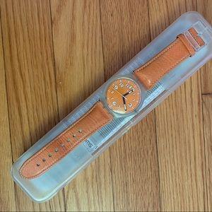 Swatch bright orange watch